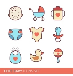 Toddler accessories icons vector image