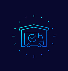 Warehouse and van delivery completed icon linear vector