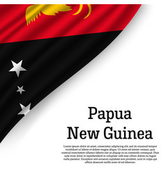 waving flag of papua new guinea vector image