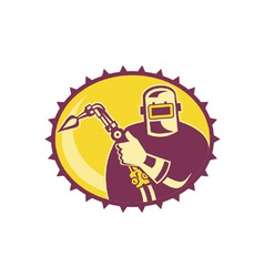 Welder Worker Welding Torch Retro vector image