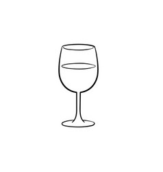 wine glass hand drawn sketch icon vector image