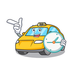 With clock taxi character cartoon style vector
