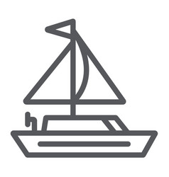 yacht line icon transportation and boat sailboat vector image