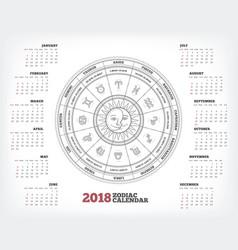 Zodiac circle 2018 year calendar poster vector
