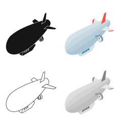 airship icon in cartoon style isolated on white vector image
