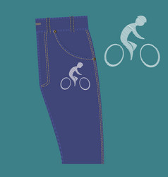 cyclist pattern on fabric vector image