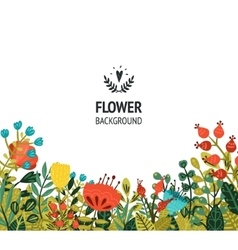 Floral background with cute flowers vector image