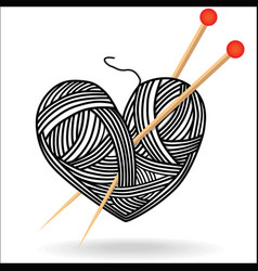 heart wool knitting needle isolates hobby vector image