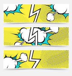 modern pop art style divided header set vector image vector image