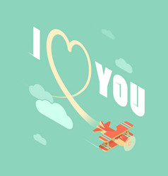 biplane with i love you vector image
