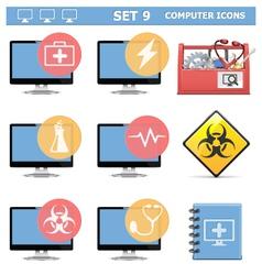 Computer icons set 9 vector