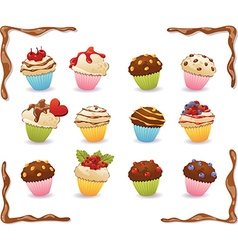 cupcakes with Chocolate frame vector image