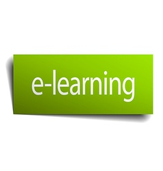 E-learning green paper sign isolated on white vector