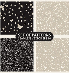 Set seamless graphic pattern of butterflies and vector image