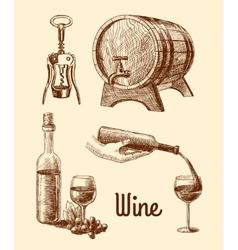 Wine sketch decorative set vector image vector image