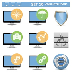 Computer Icons Set 10 vector image vector image