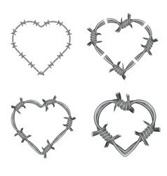 Frame heart barbed wire set vector