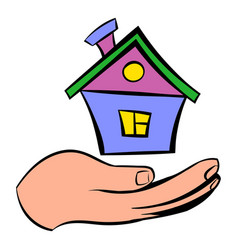house in hand icon icon cartoon vector image