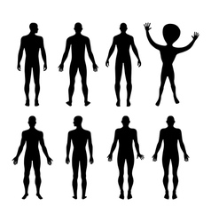 Set of full length front back silhouette of man vector image vector image