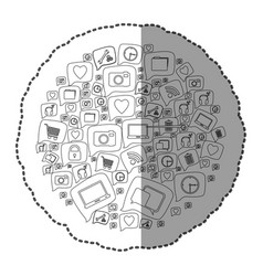 sticker monochrome circular pattern formed by vector image vector image