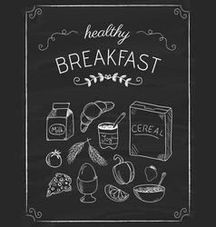 breakfast doodles on the black board vector image