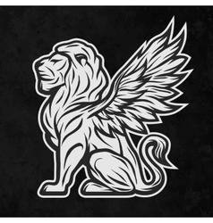 Lion statue a dark background vector
