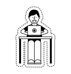 Person using computer icon vector