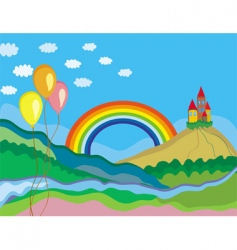 rainbow and castle vector image vector image