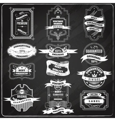 Retro emblems set chalk blackboard vector image vector image