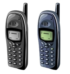 Two old cell phones with monochrome displays vector