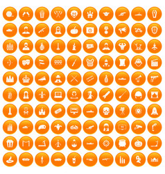 100 film icons set orange vector