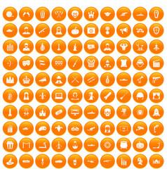 100 film icons set orange vector