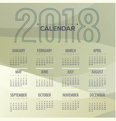 2018 modern abstract green printable calendar vector