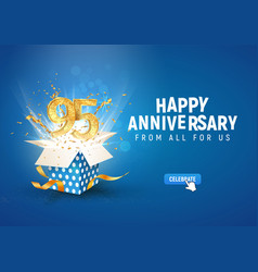 95 th years anniversary banner with open burst vector