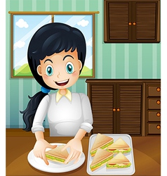 A lady preparing sandwiches vector