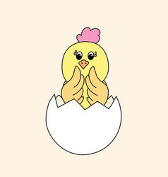 A newborn easter chick vector