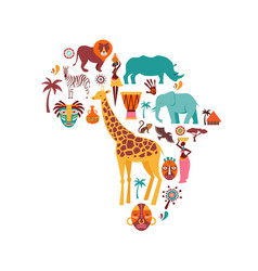 Africa map with animals icons tribal vector