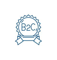 B2c line icon concept flat symbol vector