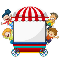 Background design with four happy kids and cart vector