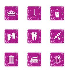 big city life icons set grunge style vector image