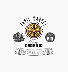 bio sticker and eco products orange web element vector image