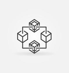 blockchain crypto thin line icon or symbol vector image