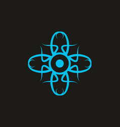 blue cross symbol or ornament vector image