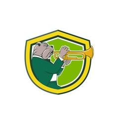 Bulldog Blowing Trumpet Side Shield Cartoon vector