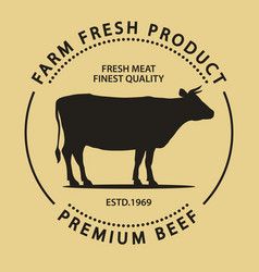 butcher shop label badge with cow fresh beef vector image