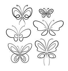 Butterfly set black on white isolated symbol vector