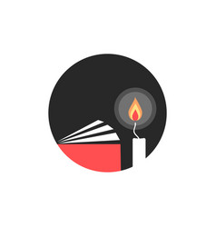 candle and book in black circle vector image