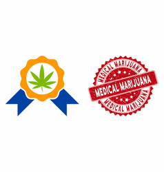 Cannabis legalize icon with distress medical vector