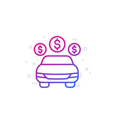 car payments cost line icon vector image