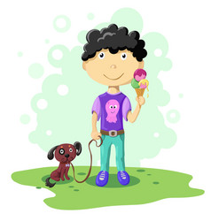 cartoon boy with dog vector image